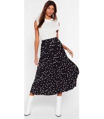 womens it's dot over yet pleated midi skirt - black
