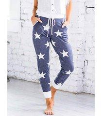 cintura con cordón y bolsillos laterales con estampado de estrellas pantalones
