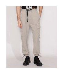 calça de nylon masculina jogger com bolsos kaki escuro