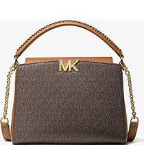 mk borsa a mano karlie media con logo - marrone - michael kors