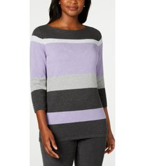 karen scott striped boatneck sweater, created for macy's