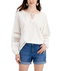 charter club split-neck eyelet top, created for macy's