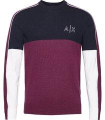 armani exchange pullover gebreide trui met ronde kraag paars armani exchange