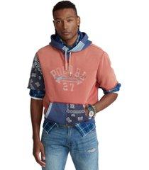 polo ralph lauren men's logo patchwork fleece hoodie