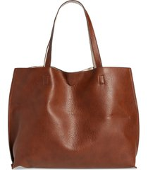 street level reversible faux leather tote & wristlet in chocolate brown at nordstrom