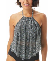 coco reef aura printed mesh underwire tankini top women's swimsuit
