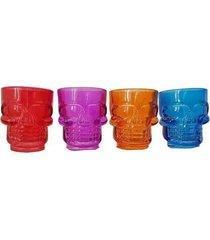 conjunto de  4 copos shot em vidro caveira color 42 ml - conjunto de 4 copos shot em vidro caveira color 42ml