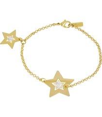 bracciale stelle in ottone dorato e glitter per donna