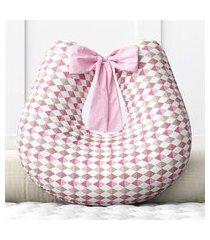 almofada amamentação rosa losango zíper grão de gente rosa