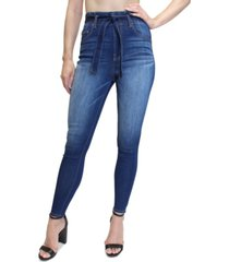 almost famous juniors' belted super high-rise skinny jeans