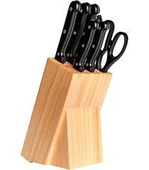 conjunto brinox de facas 8 peças com cepo daily preto