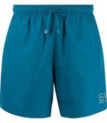 ea7 emporio armani metallic logo print swim shorts - blue