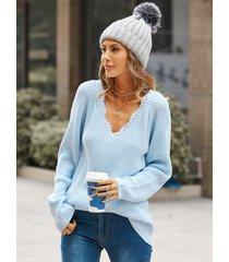 suéter de manga larga con ribete de encaje y cuello en v yoins