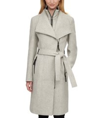 calvin klein petite faux-leather-trim wrap coat