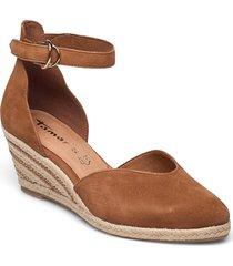 woms slip-on sandalette med klack espadrilles brun tamaris