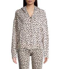 monrow women's boxy zip-up hoodie - bone - size m