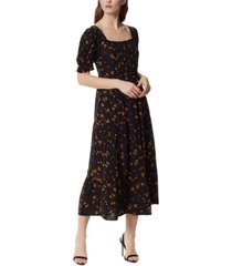 jessica simpson abril smocked floral-print tiered dress