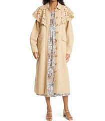 women's sea hazel eyelet cotton trench coat, size medium - beige