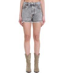 isabel marant lesiar shorts in grey denim