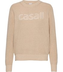 knitted logo sweater stickad tröja creme casall