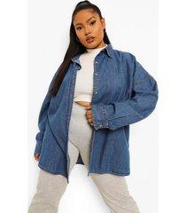plus oversized spijkerblouse, mid blue