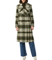 bernardo plaid double breasted wool blend coat, size small in green plaid at nordstrom