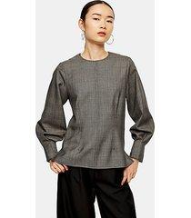 *wool check blouson blouse by topshop boutique - monochrome