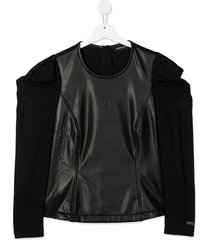 monnalisa teen faux-leather panel top - black