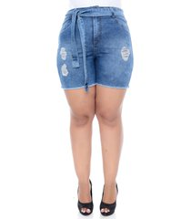 shorts jeans cambos plus size boyfit com cinto-58
