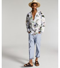 inc men's regular-fit floral-print popover camp shirt, created for macy's
