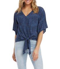 women's karen kane stripe short sleeve front tie top, size medium - blue