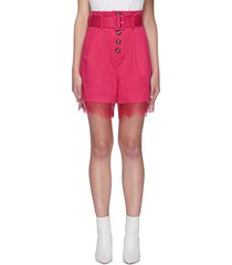 fuchsia belted canvas bermuda shorts