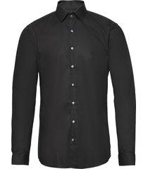 2ply poplin stretch slim shirt overhemd business zwart calvin klein