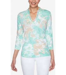ruby rd. women's misses knit embellished blossoms top