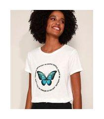 camiseta feminina borboleta com strass manga curta decote redondo branca