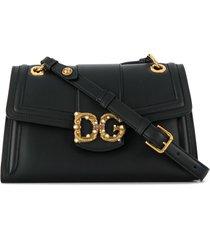 dolce & gabbana antique logo shoulder bag - black