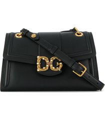 dolce & gabbana antique logo shoulder bag - black
