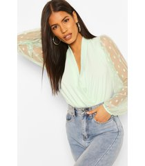 dobby mesh lunge top, mint