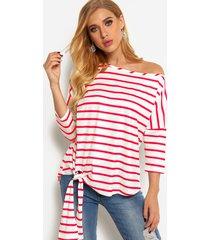 blusas de manga larga con diseño de un solo hombro a rayas rojas