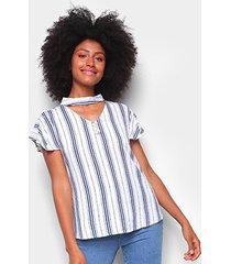 blusa adooro listrada manga curta feminina - feminino