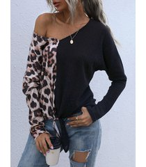camicetta con scollo a v annodata a maniche lunghe color leopardo a contrasto
