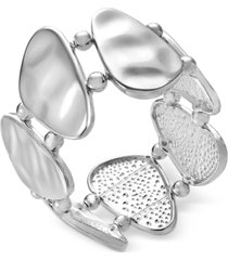 style & co silver-tone mixed metal sculptural stretch bracelet, created for macy's