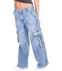 jeans palazzo bolsillo cargo azul efesis