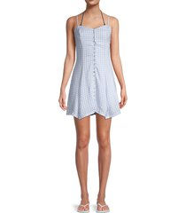 peixoto women's stella gingham mini dress - sky - size s