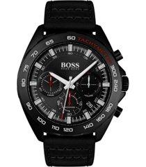 boss men's chronograph intensity black leather strap watch 44mm