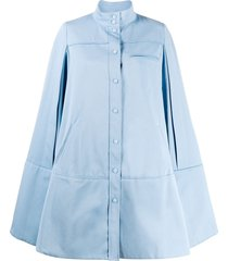 courrèges cut-out sleeve flared coat - blue