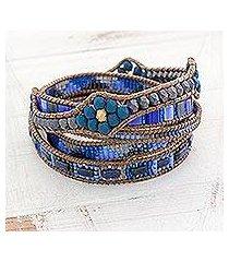 glass beaded wrap bracelet, 'country waters' (guatemala)