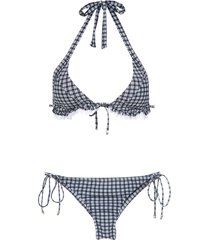 amir slama plaid bikini set - black