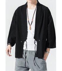 cárdigan de abrigo retro con cordones liso casual estilo japonés para hombre