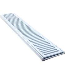 conjunto grelha e porta grelha em alumínio elegance 15x100cm branco